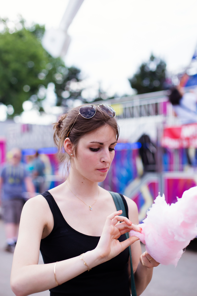 French girl at the Fun fair in Paris