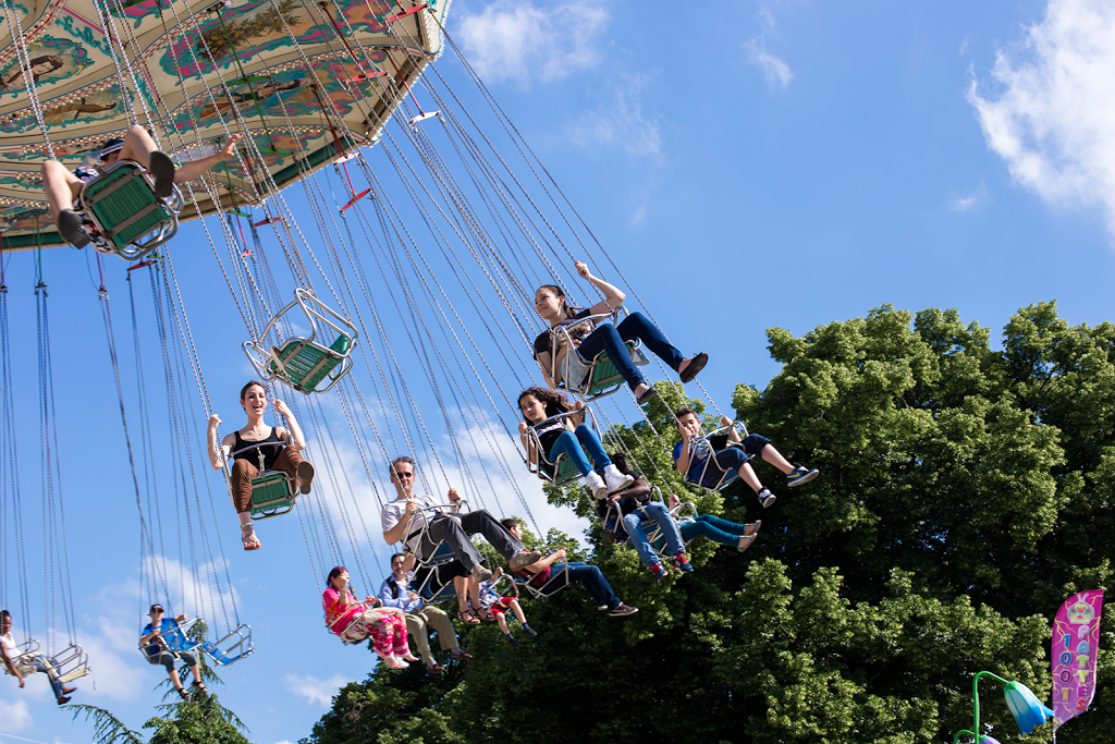 Swing ride at the fun fair in Paris