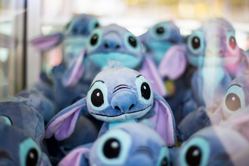 Stuffed animal Stitch toys at the fun fair in Paris