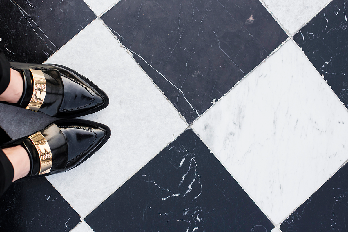 Fashion shoes and tiled floor