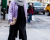 Purple bomber NYFW Tommy Hilfiger AW15 Street Style Ambitious Looks