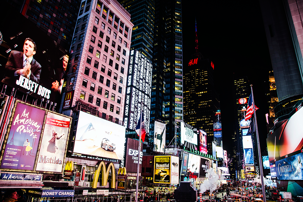 Times Square lights Photos of Winter in New York City february 2015
