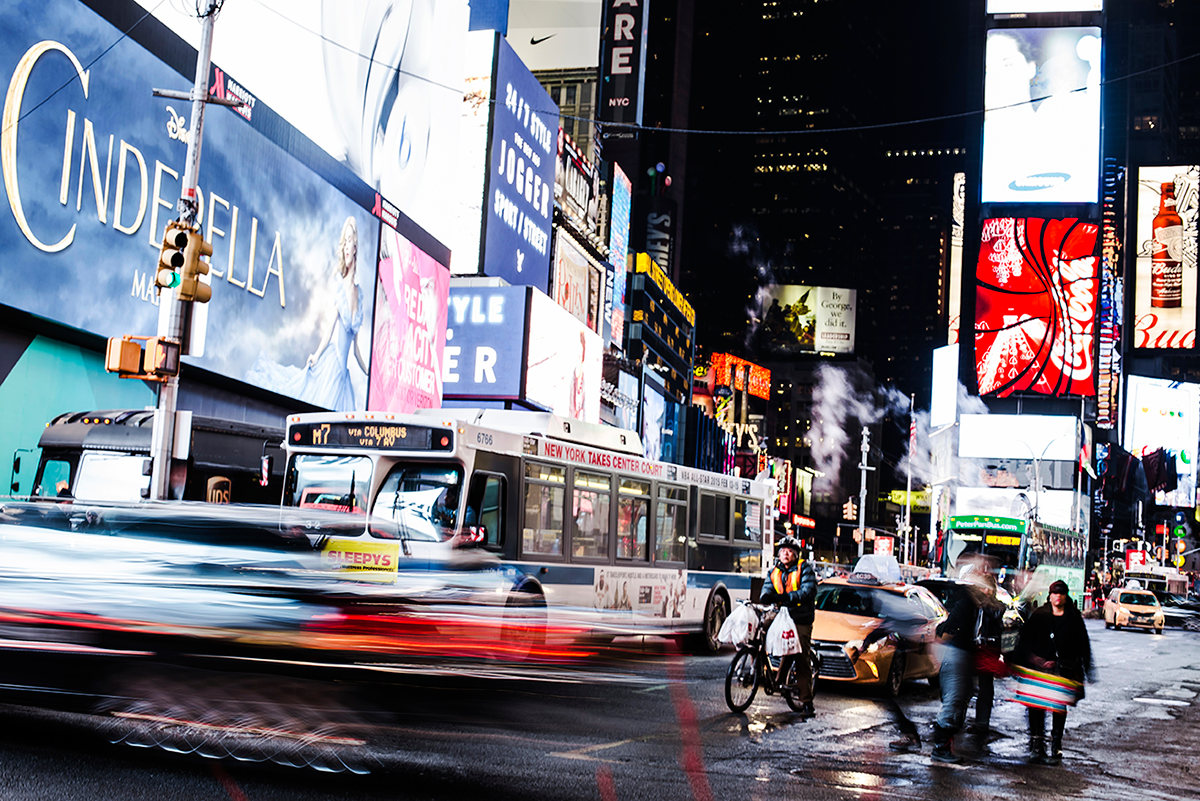 Times Square night Photos of Winter in New York City february 2015
