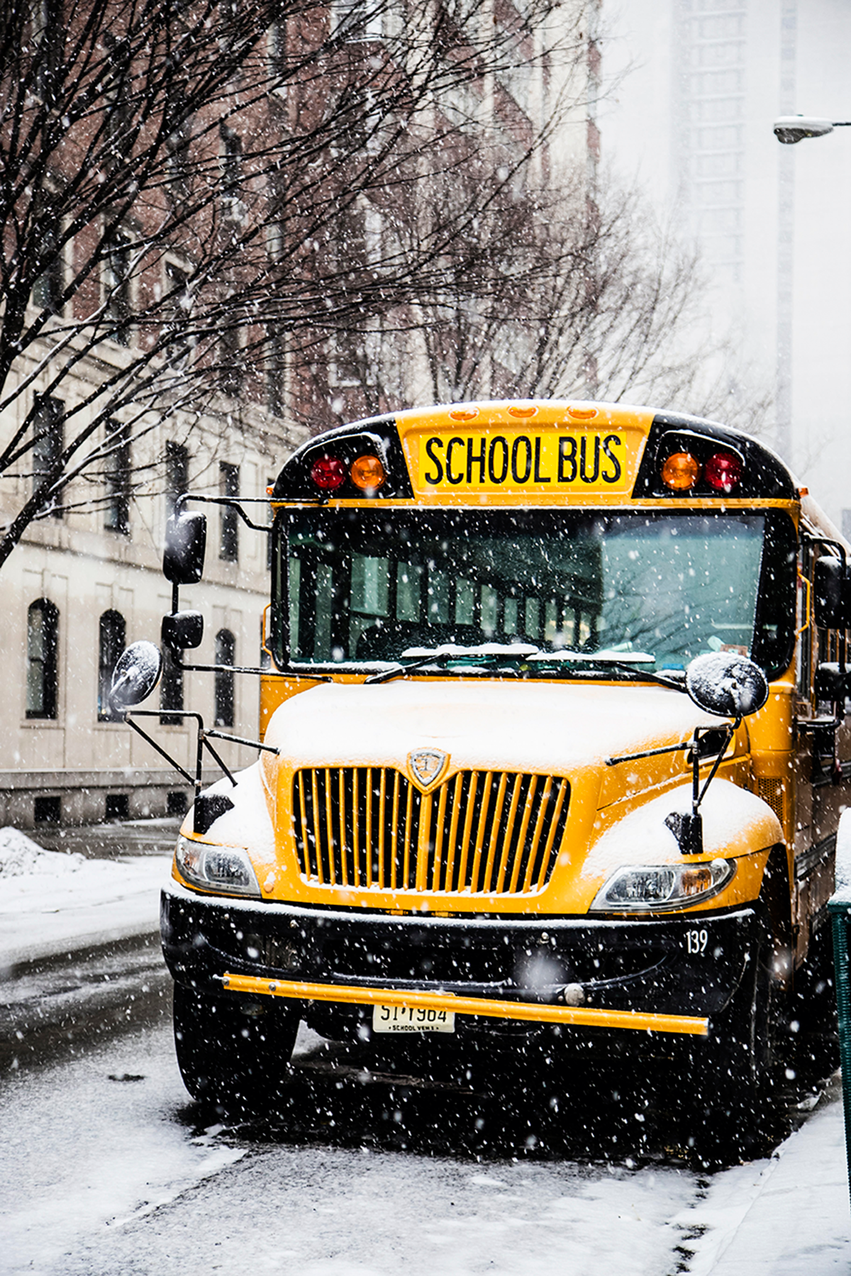 Beautiful photos of New York City February 2015 School Bus under the snow
