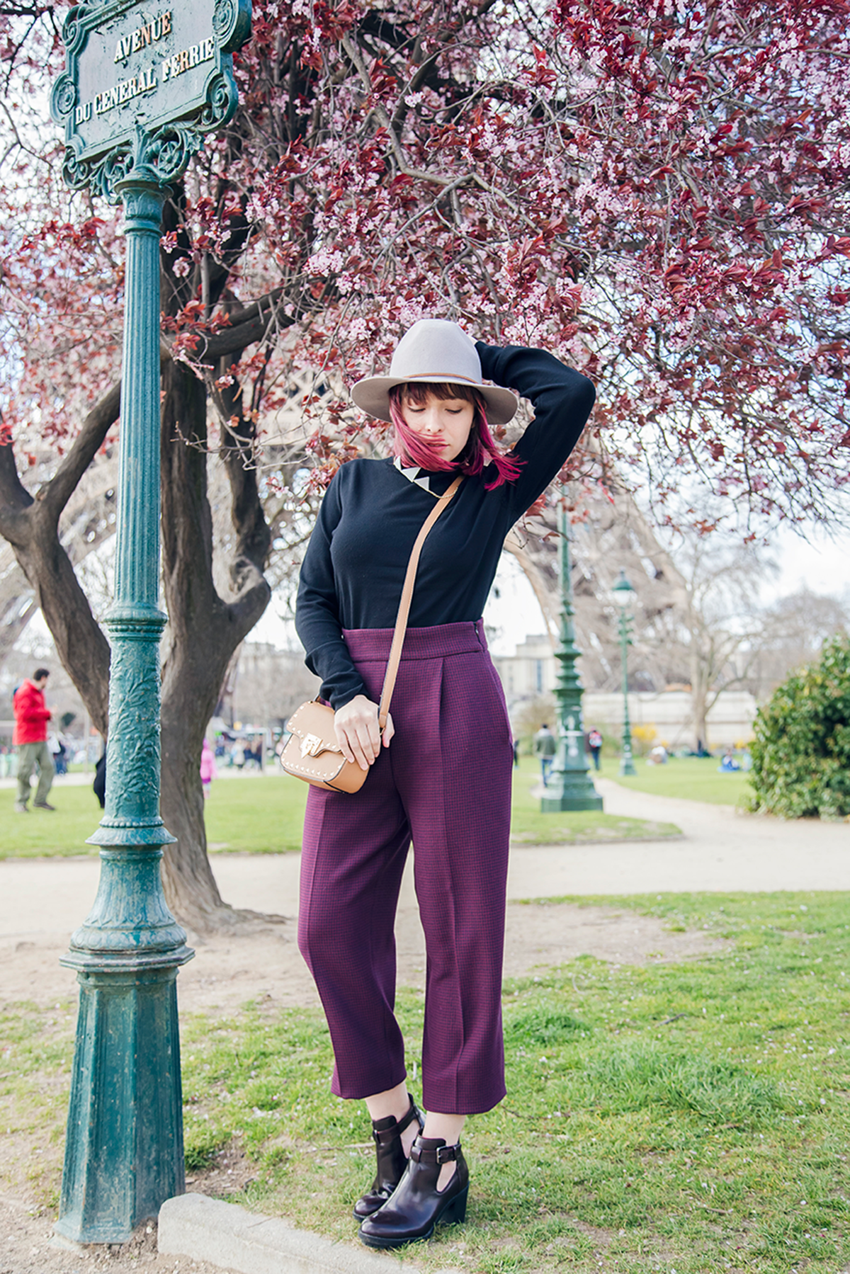 Outfit for a day under the Cherry Blossoms in Paris