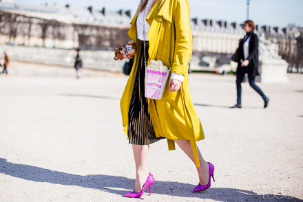 Emilie Higle yellow coat Issey Miyake Street Style PFW AW15 by Ambitious Looks