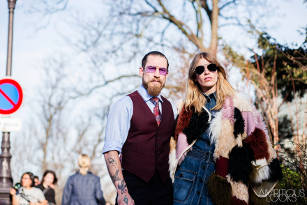Justin O Shea and Veronika Heilbrunner Street Style at Chloe AW15 Paris Fashion Week Ambitious Looks