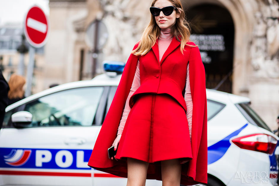 Chiara Ferragni at Stella McCartney AW15 Street Style PFW by Ambitious Looks