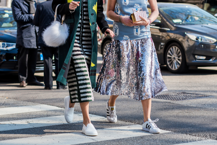Sequin skirt striped skirt Marni AW15 Streety Style MFW by Ambitious Looks